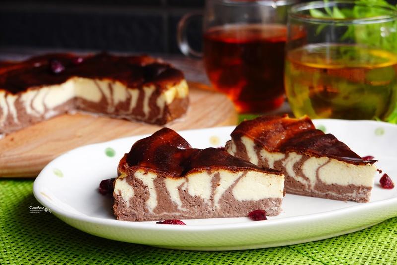 氣炸斑馬巴斯克起司蛋糕|巧克力原味巴斯克起司蛋糕食譜!